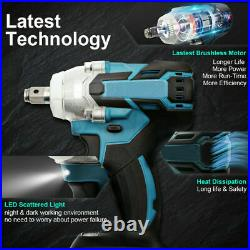 18V 1/2 520Nm Brushless Impact Wrench Replacement For Makita DTW285Z +2 Battery