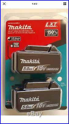 (2) Genuine Makita BL1850B 18V LXT Lithium-Ion Batteries 5.0Ah NEW IN PACK
