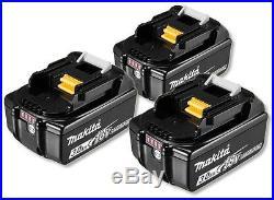 3 x Makita BL1830B 18V Li-Ion Battery 3.0Ah (With Charge Level Indicator)