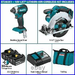 MAKITA XT283X1 18V LXT Li-Ion Cordless Impact-Driver Circular-Saw 2-Pc Combo Kit