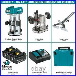 MAKITA XTR01T7 18V LXT 18-Volt Lithium-Ion Brushless Cordless Compact Router Kit
