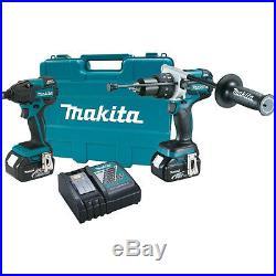 Makita 18V 4.0ah LXT XPH07 H-Drill + XDT08 Impact Driver 2-Batt Kit XT257MB New