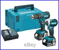 Makita 18V LXT Lithium Ion Brushless Kit DHP459 Hammer Drill + DTD153 Impact