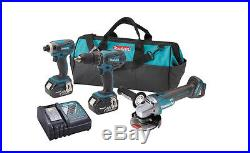 Makita 18-Volt Lithium-Ion 3-Piece Hammer Drill/Impact Driver/Angle Grinder