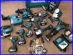 Makita 18v LXT lithium tool set 20 piece 6 batteries 2 chargers drills, saws, et