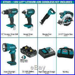 Makita Cordless Combo Kit 18-Volt LXT Lithium-Ion Batteries Charger Bag 5-Tool