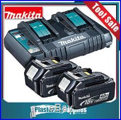 Makita DC18RD 18v Li-Ion Cordless Dual Battery Rapid Charger +2x 4.0Ah Batteries