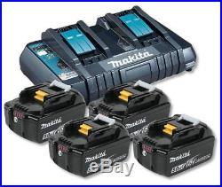 Makita DC18RD Dual Port Charger with 4 x BL1850B 5.0ah Li-Ion Batteries Kit
