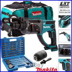 Makita DHR202Z 18V Cordless SDS+ Rotary Hammer Drill + 17pcs Acc & Chuck & Bag
