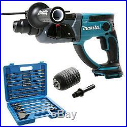 Makita DHR202Z 18V LXT SDS+Hammer Drill +17pcs SDS Drill Bit Set & keyless Chuck