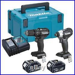 Makita DLX2221BT2 18v Cordless Brushless Black Edition Twin Kit 2 x BL1850B
