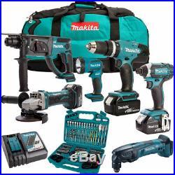 Makita DLX6075M 18V 6 Piece Kit 3 x 4.0Ah Batteries Charger & 101 Accessory Set