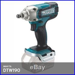 Makita DTW190Z Impact Wrench 1/2 18V M8-M16 190Nm 3.3lb 2300Rpm 176mm Bare Body