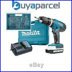 Makita HP457 18v Lithium Combi Hammer Drill Includes 74 Screwdriver Bit Set