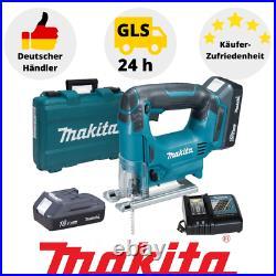 Makita Stichsäge JV183DWE mit 2 Akkus 18V Koffer und Ladegerät Sägeblatt Säge