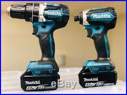 Makita XPH12Z 18V Brushless 1/2 Hammer Drill + XDT13Z Impact + (2) 4.0AH Batts