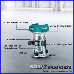 Makita XTR01Z 18V LXT LiIon Brushless Cordless Compact Router, Tool Only (New)