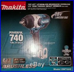 Makita XWT08Z 18V LXT Li-Ion Brushless 1/2 Square Drive Impact (Tool Only) OB