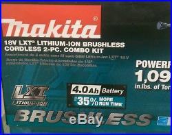New MAKITA 18V BRUSHLESS LITHIUM-ION CORDLESS 2 Tool COMBO KIT Hammer Drill