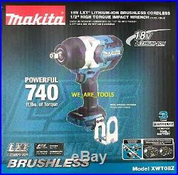 New Makita 18V XWT08Z Brushless Cordless 1/2 Impact Wrench 1,180 Ft Lbs 18 Volt
