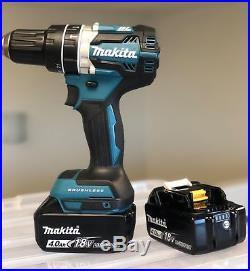 New Makita 1/2 Brushless Cordless Hammer Drill XPH12Z 18V LXT + (2) 4.0AH Batts