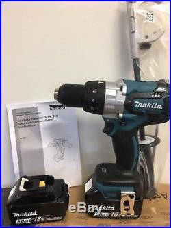 New Makita XPH07Z 18V LXT 1/2 Brushless Hammer Drill Driver + (2) BL1850 Batts