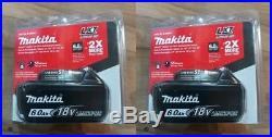 Two Makita 6.0AH 18v Li-ion Battery BL1860B for Makita Drill Saw BL1860B-2